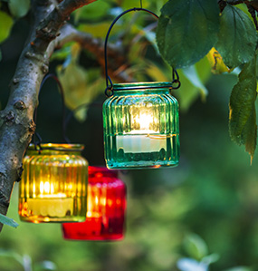 Lanterns create a soft atmosphere